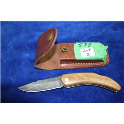 "3"" Damascus Lockback Knife;Wood Handle; Belt Sheath"