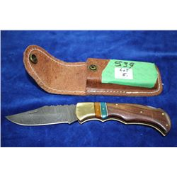 3 1/2  Damascus Lockback Knife w/Wood & Brass Handle
