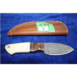 3  Damascus Knife; Wood, Brass & Bone Handle; Leather Sheath