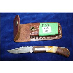 "3"" Damascus Folding Lockback Knife; Bone & Wood Handle; Brass Pins; Leather Belt Sheath"