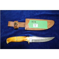 "5 1/2"" Damascus Knife; Brass Guard; Bone & Brass Handle; Leather Sheath"