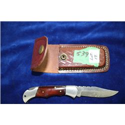 3 1/4  Damascus Folding Lockback Knife; Dyed Bone Handle; Leather Belt Sheath