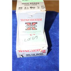 "9 Live & 11 Brass of 30-30 Winchester + a Full Box of 410, 2 1/2"" #7 1/2 Shot"