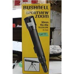 New Bushnell Sportview Zoom 50mm Telescope; 15x - 45x; In a Box