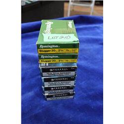 4 Boxes of 12 ga., 2 3/4 Buckshot #4 Shot & 2 Boxes of 20 ga.,  2 3/4 Slugs (Factory)