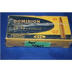 1 Box of 30-30 Winchester Dominion (CIL) 170 grain KKSP