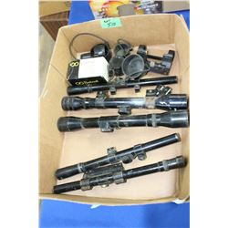 Box of 5 Assorted Scopes, 3 Scope Covers & a Scope Mount