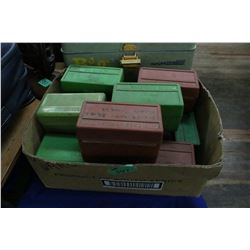 12 Plastic Ammo boxes - Some with Brass