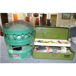 Coleman Adjustable Heater; Tackle Box w/Contents