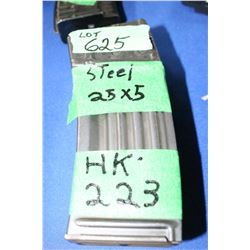 2 HK-223 Steel (25 x5) Magazines - Pinned at 5 Rnds