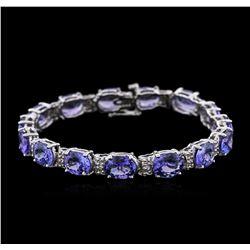 14KT White Gold 27.90 ctw Tanzanite and Diamond Bracelet