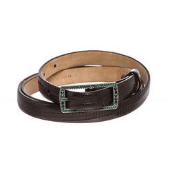 Valentino Black Lizard Skin Green Rhinestone Buckle Thin Belt