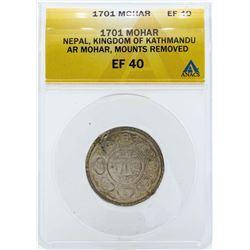 1701 Nepal Mohar Kingdom of Kathmandu Coin ANACS EF40
