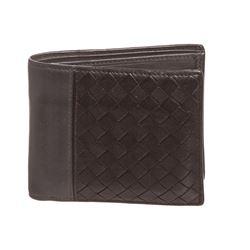 Bottega Veneta Black Gray Leather Mens Woven Bifold Wallet