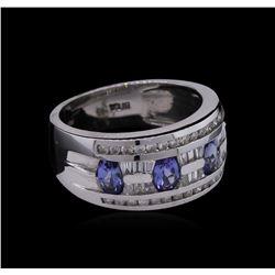 0.35 ctw Tanzanite and Diamond Ring - 14KT White Gold