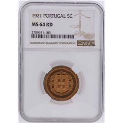 1921 Portugal 5 Centavos Coin NGC MS64RD