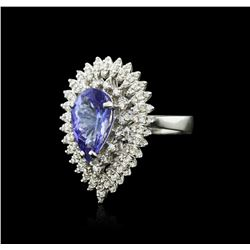 14KT White Gold 4.05 ctw Tanzanite and Diamond Ring