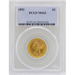 1892 $5 Liberty Head Half Eagle Gold Coin PCGS MS62