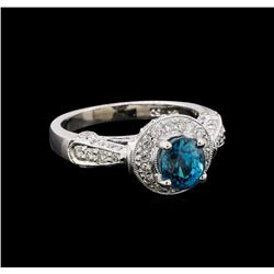 2.16 ctw Blue Zircon and Diamond Ring - 18KT White Gold