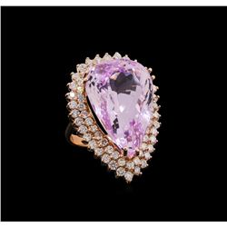 38.24 ctw Kunzite and Diamond Ring - 14KT Rose Gold