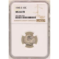 1945-S Mercury Dime Coin NGC MS66FB
