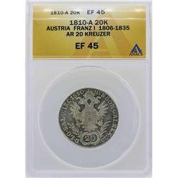 1810-A Austria 20 Kreuzer Coin ANACS XF45