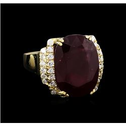 22.81 ctw Ruby and Diamond Ring - 14KT Yellow Gold