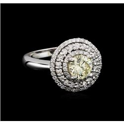 1.50 ctw Light Yellow Diamond Ring - 14KT White Gold