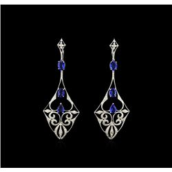 4.85 ctw Blue Sapphire and Diamond Dangle Earrings  - 18KT White Gold