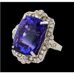 31.60 ctw Tanzanite and Diamond Ring - 14KT White Gold