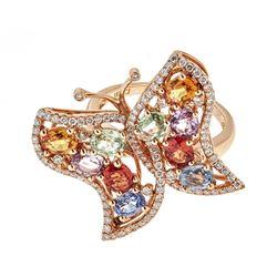 3.93 ctw Multi-color Gemstone Ring - 18KT Rose Gold