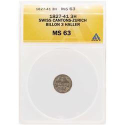 1827-41 Swiss Cantons-Zurich Billion 3 Haller Coin ANACS MS63