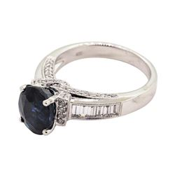 4.17 ctw Sapphire and Diamond Ring - 18KT White Gold