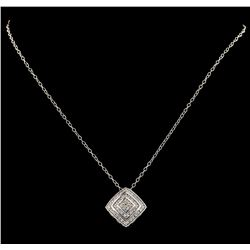 0.75 ctw Diamond Pendant With Chain - 14KT White Gold