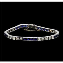 6.80 ctw Sapphire and Diamond Bracelet - Platinum