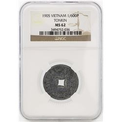1905 Vietnam Tonkin 1/600 Piastre Coin NGC MS62