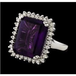 10.10 ctw Amethyst and Diamond Ring - 14KT White Gold
