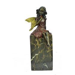 Valentine Angel Holding Flower Bronze Figurine
