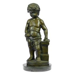 ART Nude The little boy Holding Apple Bronze Sculpture