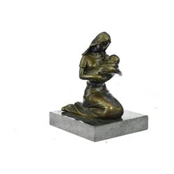 Breast Feeding Mother Baby Nursing Infant Bronze Statue