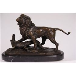 Lion Attacking Crocodile Bronze Statue on Marble Base