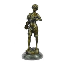 Boy play Violin Bronze Sculpture