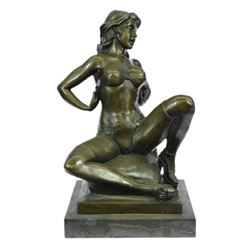 Nouveau Erotic Figures Nude Jordan Woman Bronze Statue