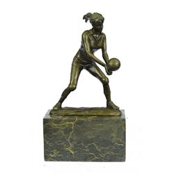 Girl Volleyball Player Bronze Figurine