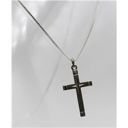 STERLING SILVER CROSS WITH DIAMOND IN CENTER