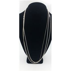 (3) STERLING SILVER CHAINS. DIFFERENT LINK DETAILS (3) STERLING SILVER CHAINS. DIFFERENT LINK DETAIL