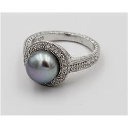 AFFINITY PEARL AND DIAMOND STERLING SILVER RING