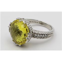 JUDITH RIPKA .925 RING WITH CZS & YELLOW STONE JUDITH RIPKA STERLING SILVER RING WITH CZ'S AND YELLO