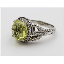 JUDITH RIPKA RING WITH PALE GREEN STONE JUDITH RIPKA STERLING SILVER RING WITH PALE GREEN STONE. PRE