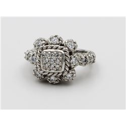 JUDITH RIPKA .925 RING WITH CZ'S. JUDITH RIPKA STERLING SILVER RING WITH CZ'S. SIZE 6.5. ESTIMATE: $